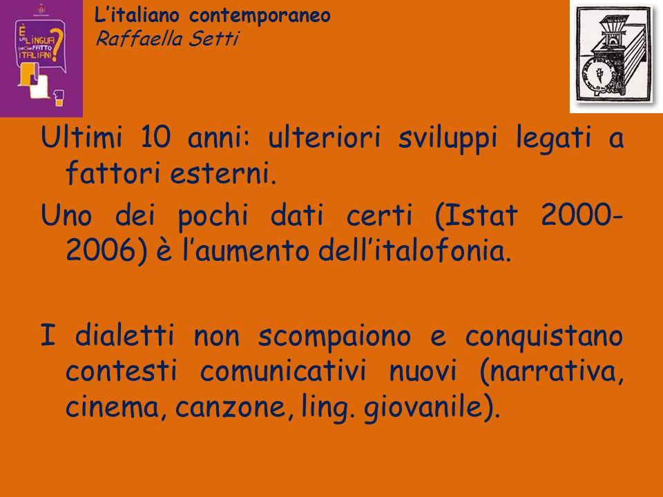 Litaliano contemporaneo Raffaella Setti Ultimi 10 anni: ulteriori sviluppi legati a fattori esterni. Uno dei pochi dati certi (Istat 2000- 2006) è lau