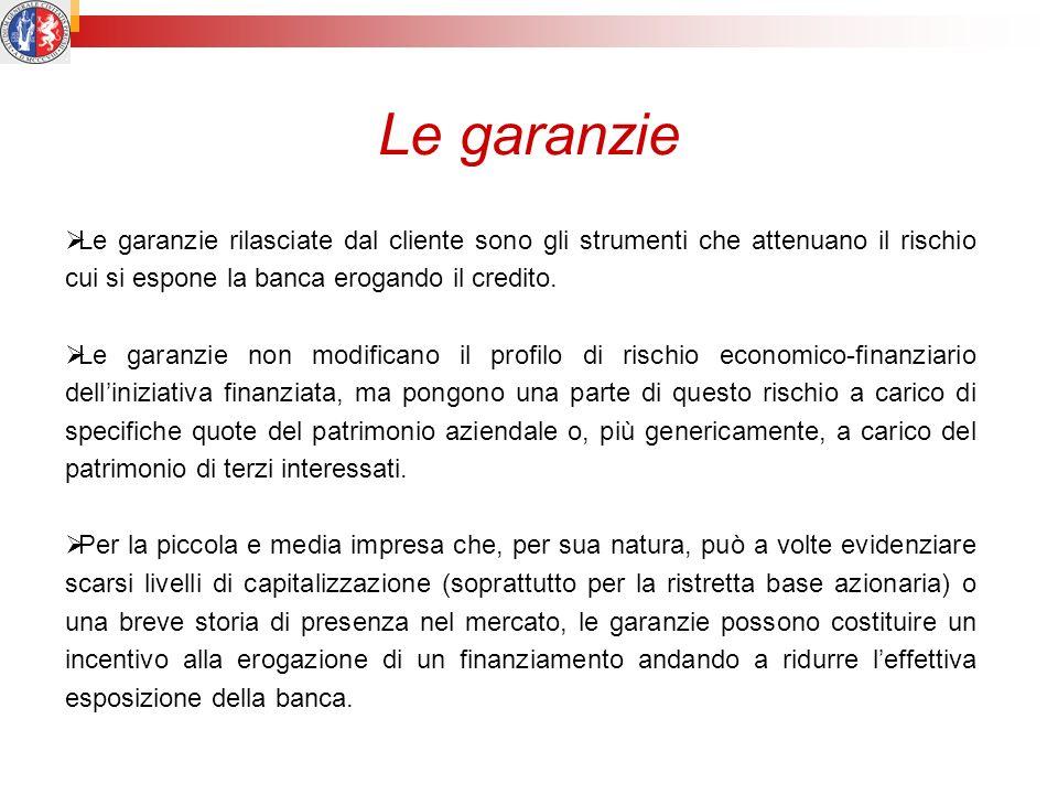 Le garanzie Le garanzie rilasciate dal cliente sono gli strumenti che attenuano il rischio cui si espone la banca erogando il credito. Le garanzie non