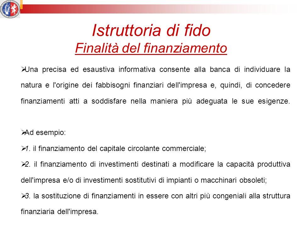 Istruttoria di fido Finalità del finanziamento Una precisa ed esaustiva informativa consente alla banca di individuare la natura e l'origine dei fabbi