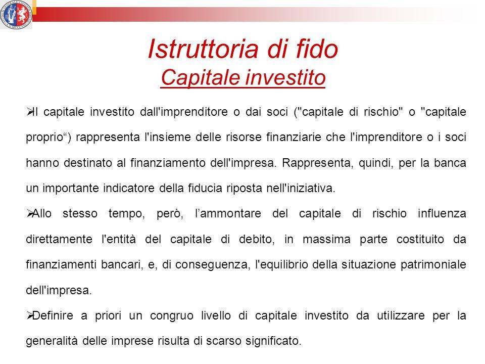Istruttoria di fido Capitale investito Il capitale investito dall'imprenditore o dai soci (