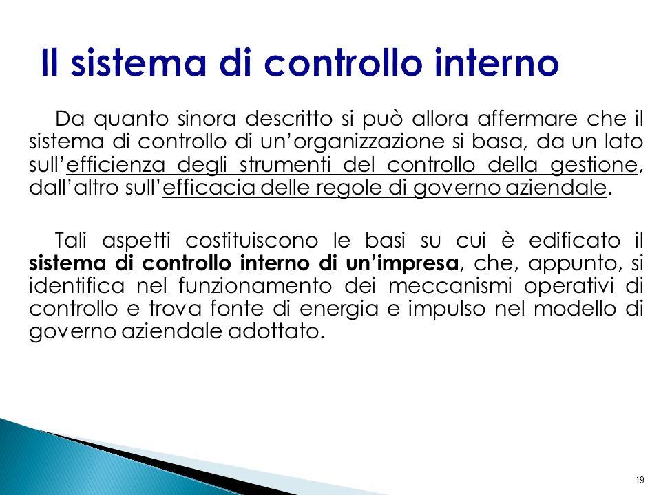 19 Da quanto sinora descritto si può allora affermare che il sistema di controllo di unorganizzazione si basa, da un lato sullefficienza degli strumen
