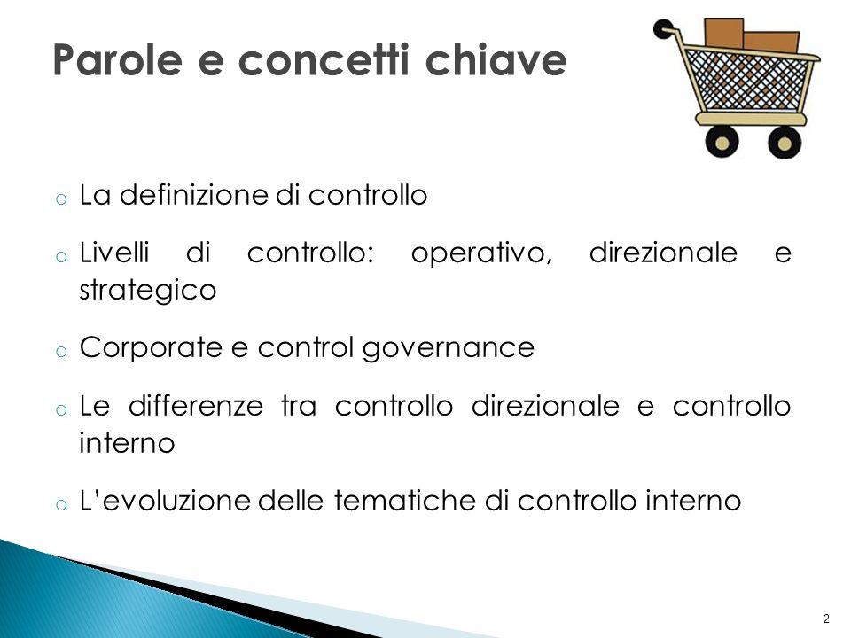 2 o La definizione di controllo o Livelli di controllo: operativo, direzionale e strategico o Corporate e control governance o Le differenze tra contr