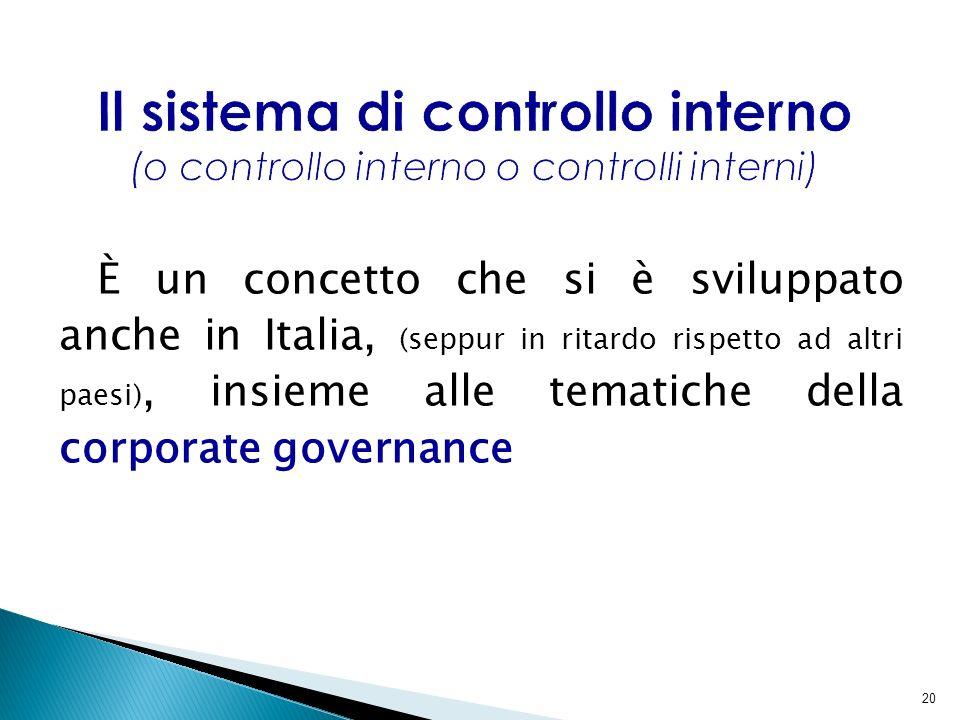 20 È un concetto che si è sviluppato anche in Italia, (seppur in ritardo rispetto ad altri paesi), insieme alle tematiche della corporate governance