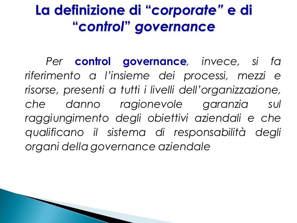 23 Per control governance, invece, si fa riferimento a linsieme dei processi, mezzi e risorse, presenti a tutti i livelli dellorganizzazione, che dann