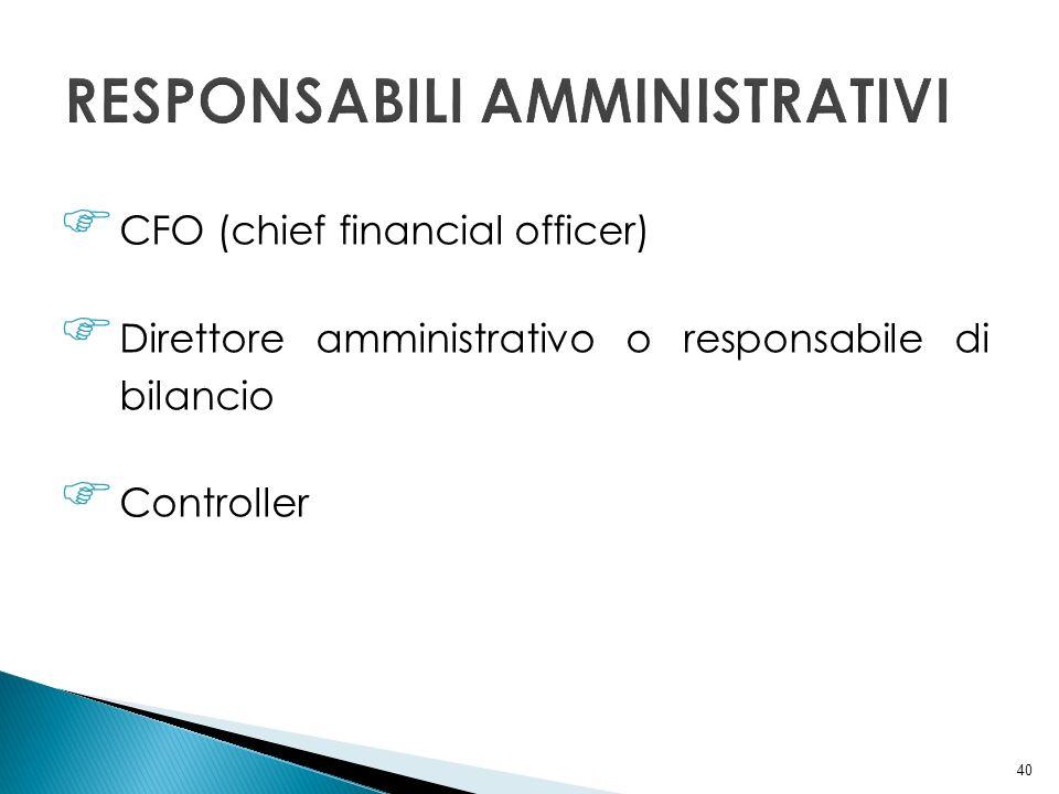40 CFO (chief financial officer) Direttore amministrativo o responsabile di bilancio Controller