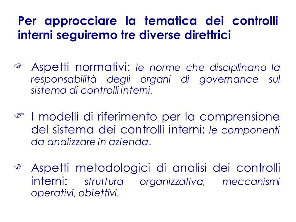 Aspetti normativi: le norme che disciplinano la responsabilità degli organi di governance sul sistema di controlli interni. I modelli di riferimento p