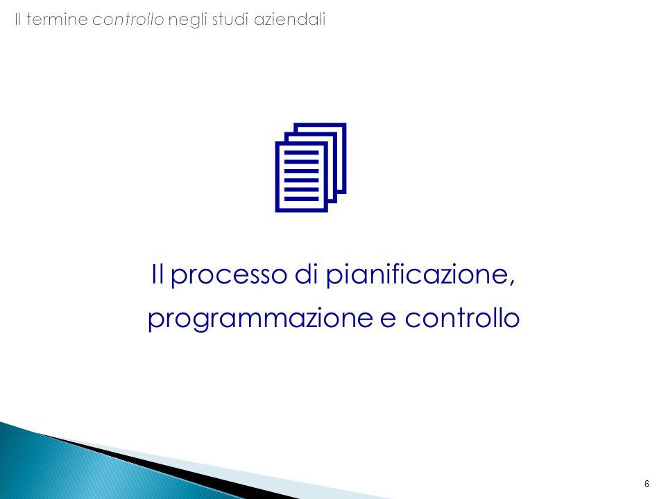 6 Il processo di pianificazione, programmazione e controllo