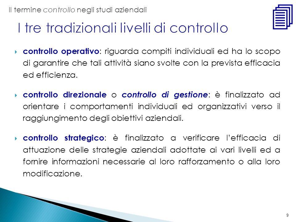 9 controllo operativo : riguarda compiti individuali ed ha lo scopo di garantire che tali attività siano svolte con la prevista efficacia ed efficienz