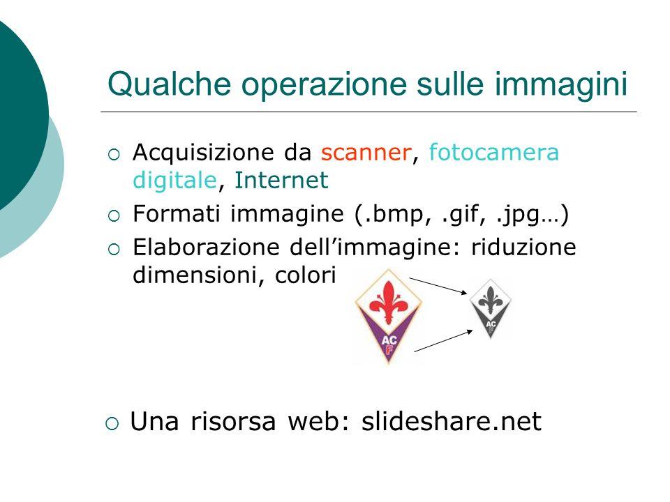 Qualche operazione sulle immagini Acquisizione da scanner, fotocamera digitale, Internet Formati immagine (.bmp,.gif,.jpg…) Elaborazione dellimmagine: