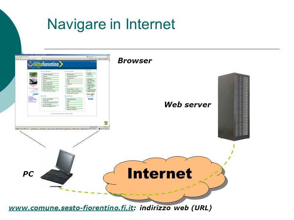 Navigare in Internet Internet Browser PC Web server www.comune.sesto-fiorentino.fi.itwww.comune.sesto-fiorentino.fi.it: indirizzo web (URL)