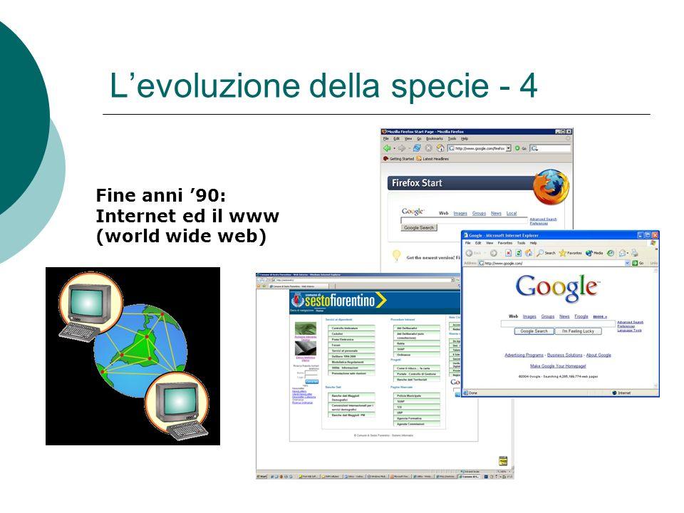Levoluzione della specie - 4 Fine anni 90: Internet ed il www (world wide web)