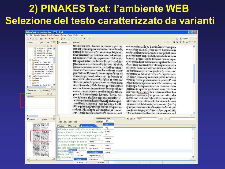 2) PINAKES Text: lambiente WEB Selezione del testo caratterizzato da varianti