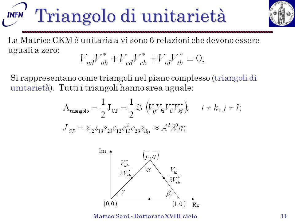 Matteo Sani - Dottorato XVIII ciclo11 Triangolo di unitarietà La Matrice CKM è unitaria a vi sono 6 relazioni che devono essere uguali a zero: Si rappresentano come triangoli nel piano complesso (triangoli di unitarietà).