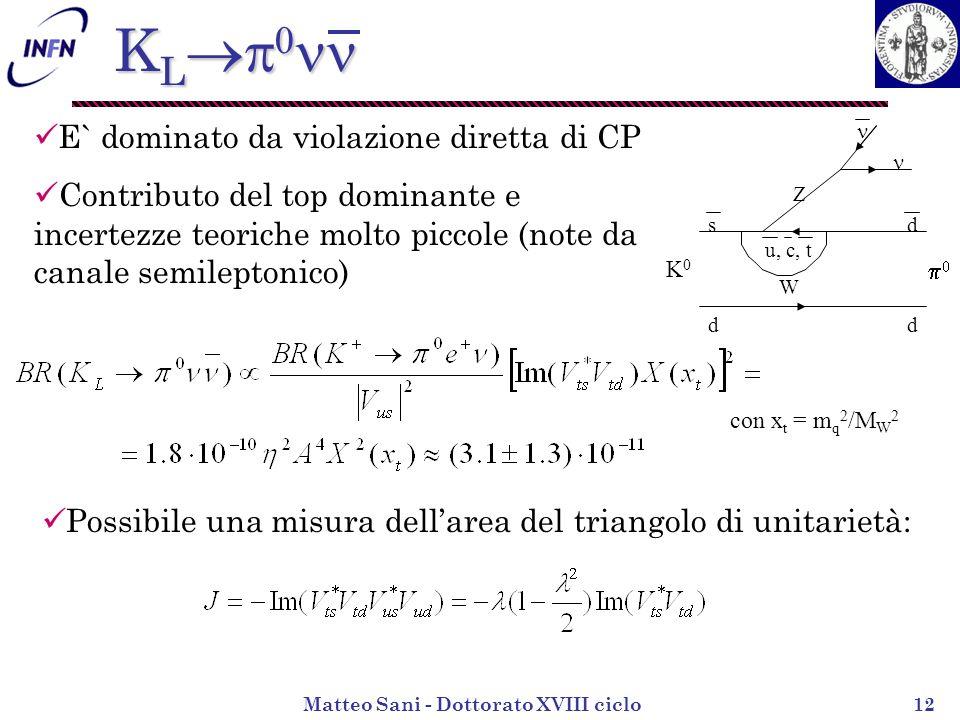 Matteo Sani - Dottorato XVIII ciclo12 K L K L K0K0 d d sd u, c, t Z W E` dominato da violazione diretta di CP Contributo del top dominante e incertezze teoriche molto piccole (note da canale semileptonico) con x t = m q 2 /M W 2 Possibile una misura dellarea del triangolo di unitarietà: