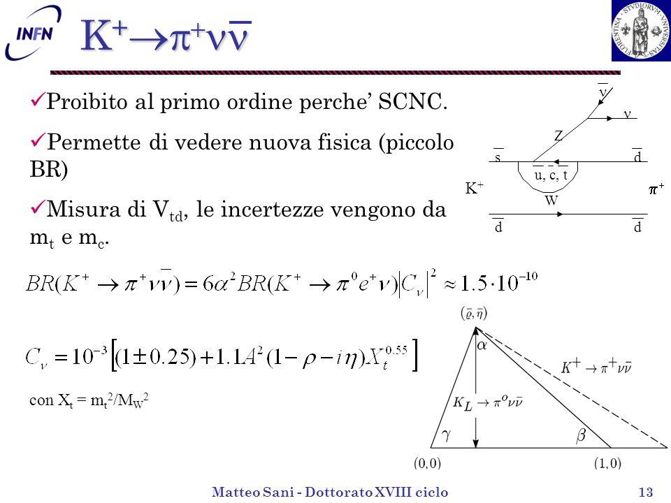 Matteo Sani - Dottorato XVIII ciclo13 K + K + K+K+ d d sd u, c, t Z W Proibito al primo ordine perche SCNC.