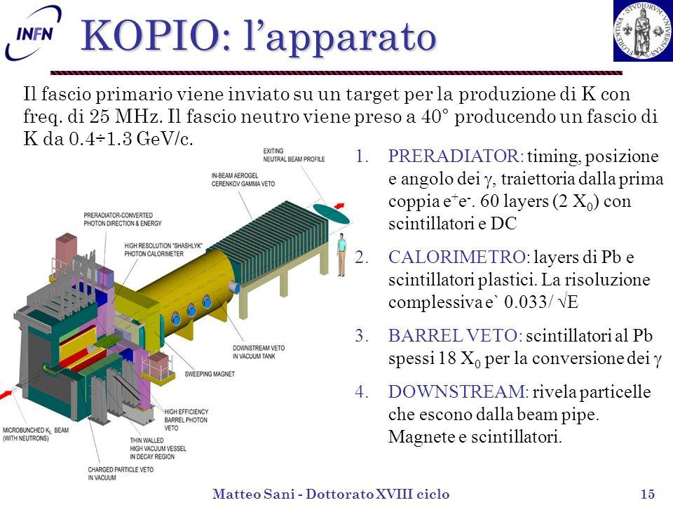Matteo Sani - Dottorato XVIII ciclo15 Il fascio primario viene inviato su un target per la produzione di K con freq.