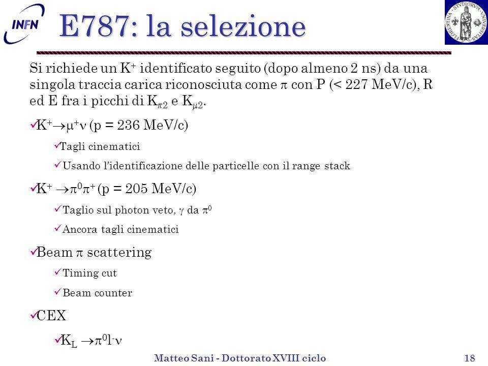 Matteo Sani - Dottorato XVIII ciclo18 E787: la selezione Si richiede un K + identificato seguito (dopo almeno 2 ns) da una singola traccia carica riconosciuta come con P (< 227 MeV/c), R ed E fra i picchi di K 2 e K 2.