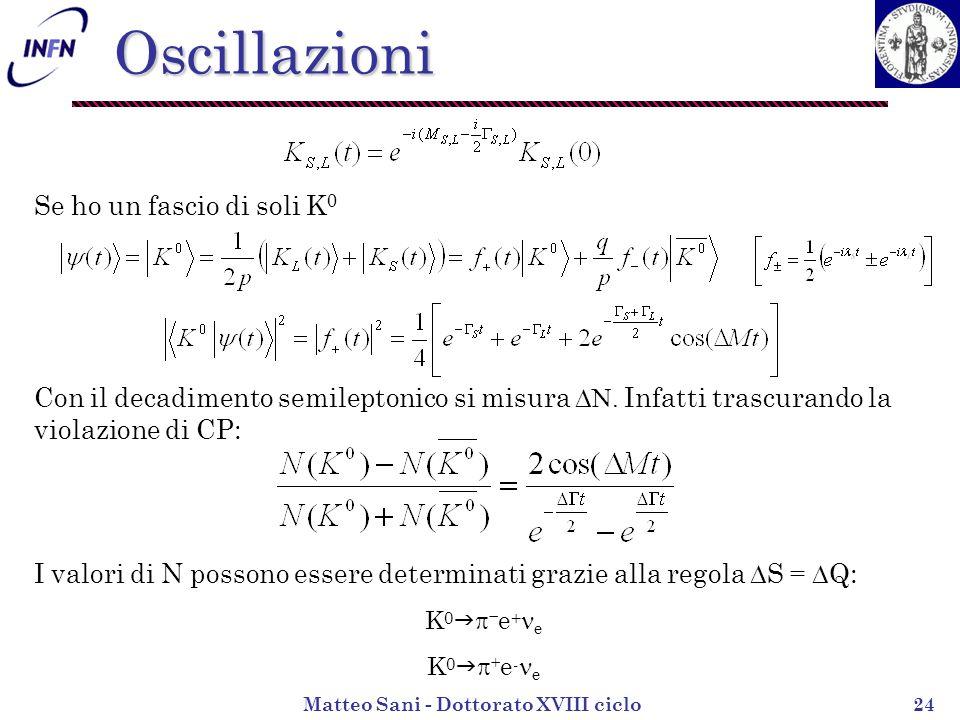 Matteo Sani - Dottorato XVIII ciclo24 Se ho un fascio di soli K 0 Con il decadimento semileptonico si misura N.