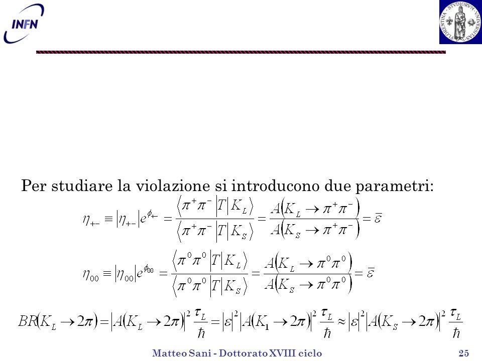 Matteo Sani - Dottorato XVIII ciclo25 Per studiare la violazione si introducono due parametri: