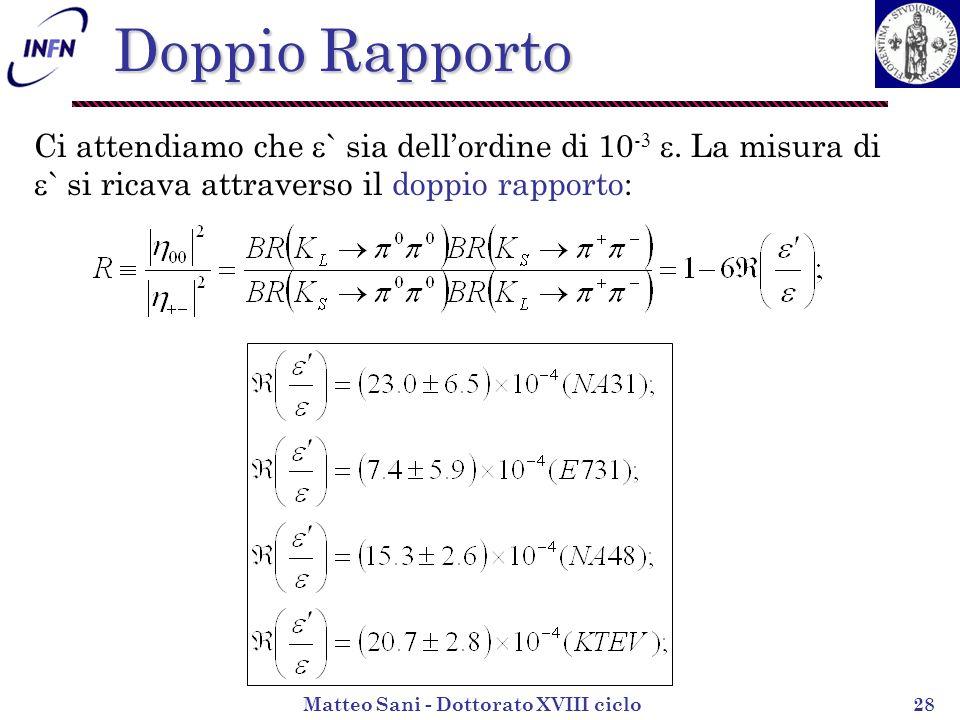 Matteo Sani - Dottorato XVIII ciclo28 Ci attendiamo che ` sia dellordine di 10 -.