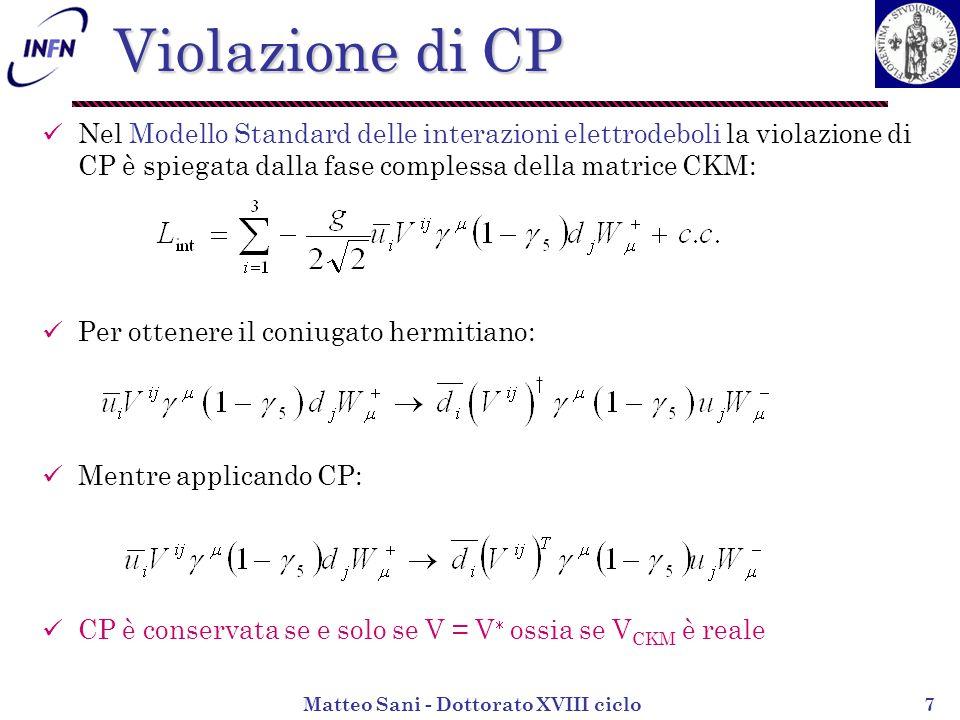 Matteo Sani - Dottorato XVIII ciclo8 Sistema K 0, K 0 se CPT è conservata allora M 11 = M 22 = M 0 e 11 = 22 = 0 Il K 0 (ds) e il K 0 (sd) si distinguono solo per la stranezza.