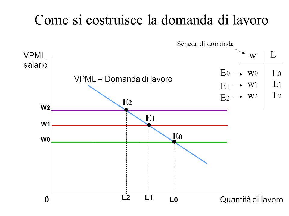 Come si costruisce la domanda di lavoro 0Quantità di lavoro0 W1 L1 VPML = Domanda di lavoro E1E1 VPML, salario W0 W2 L0 L2 E0E0 E2E2 w L w0w0 L0L0 E0E