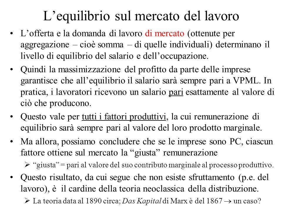 Lequilibrio sul mercato del lavoro Lofferta e la domanda di lavoro di mercato (ottenute per aggregazione – cioè somma – di quelle individuali) determi