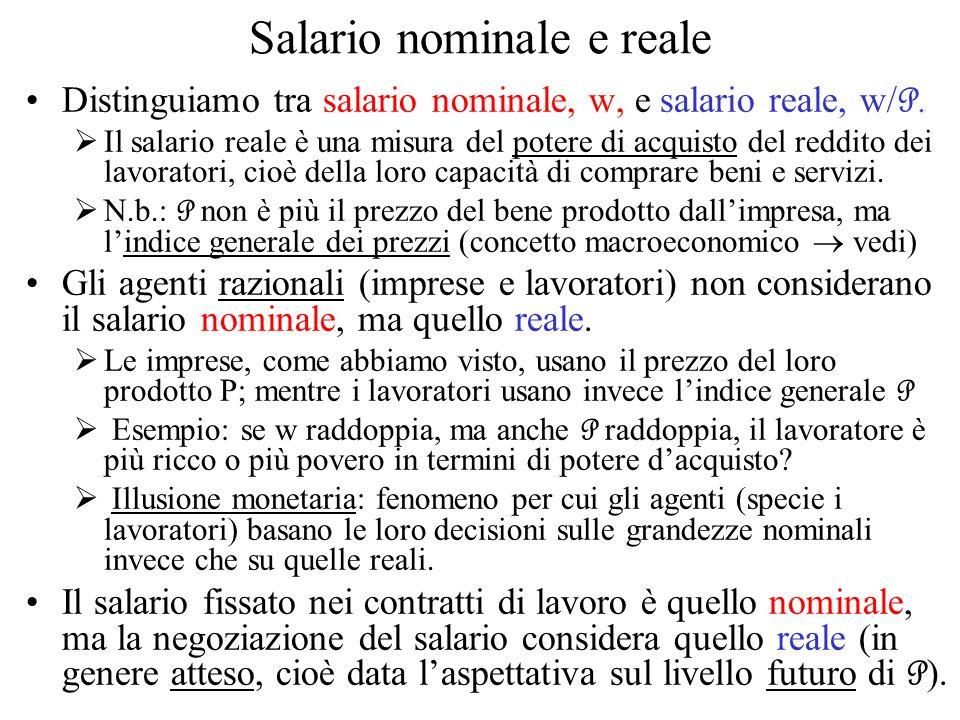 Salario nominale e reale Distinguiamo tra salario nominale, w, e salario reale, w/ P. Il salario reale è una misura del potere di acquisto del reddito