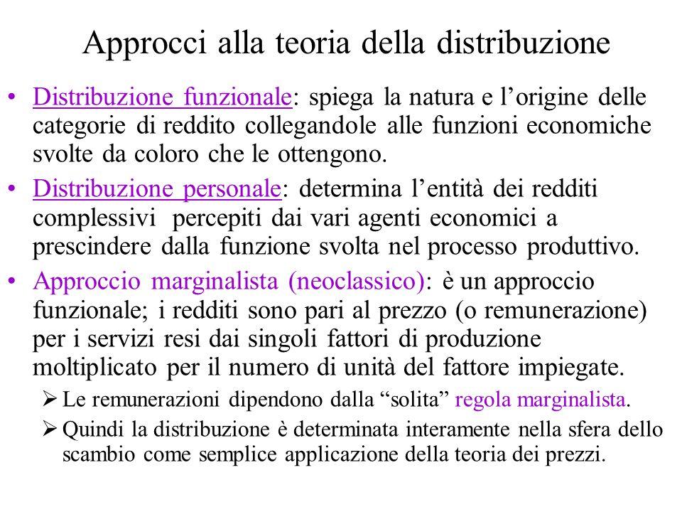 Approcci alla teoria della distribuzione Distribuzione funzionale: spiega la natura e lorigine delle categorie di reddito collegandole alle funzioni e