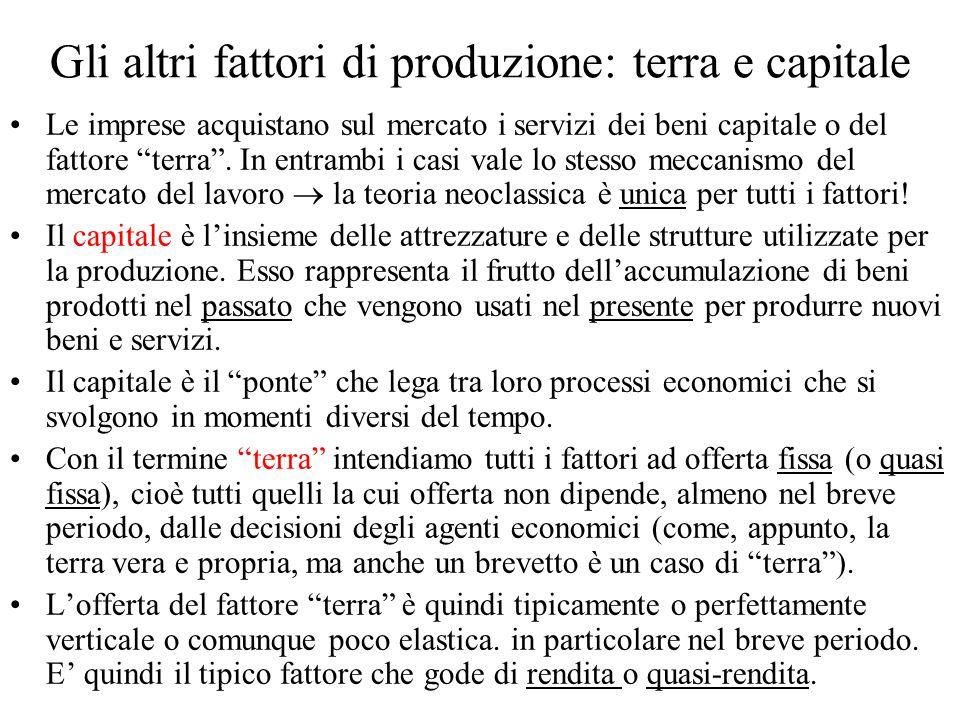 Gli altri fattori di produzione: terra e capitale Le imprese acquistano sul mercato i servizi dei beni capitale o del fattore terra. In entrambi i cas
