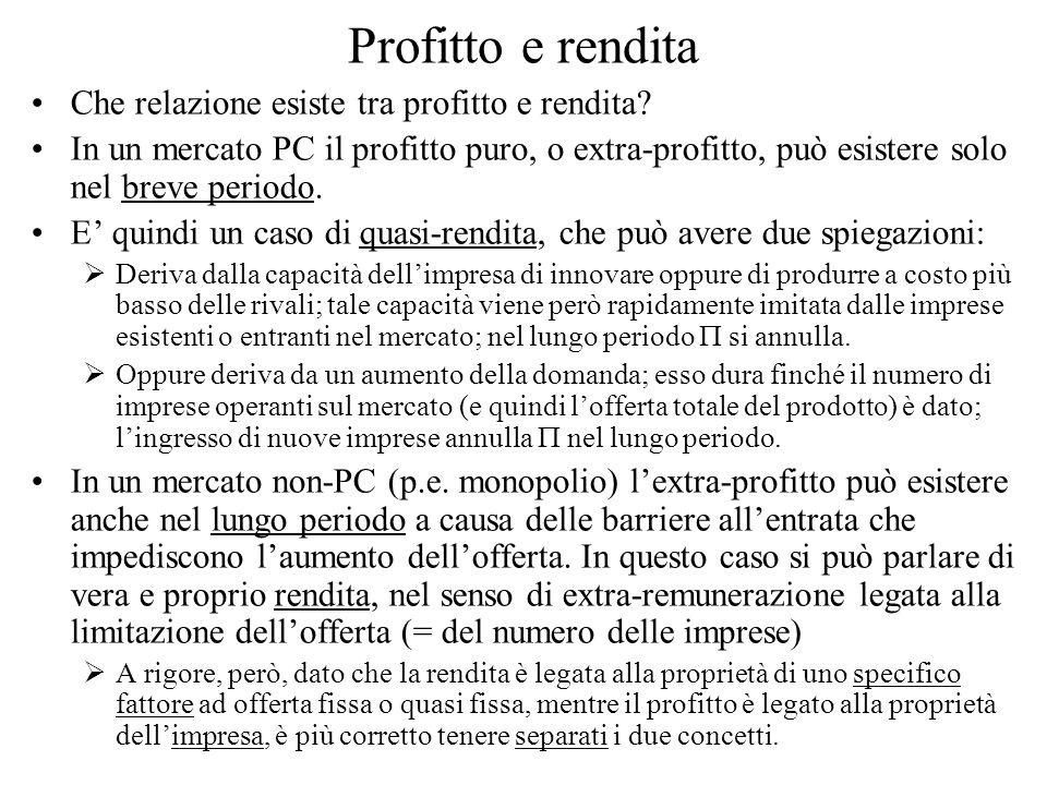 Profitto e rendita Che relazione esiste tra profitto e rendita? In un mercato PC il profitto puro, o extra-profitto, può esistere solo nel breve perio