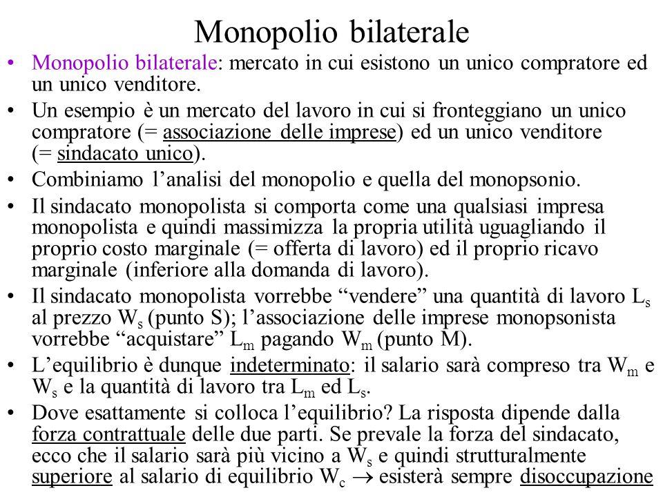 Monopolio bilaterale Monopolio bilaterale: mercato in cui esistono un unico compratore ed un unico venditore. Un esempio è un mercato del lavoro in cu