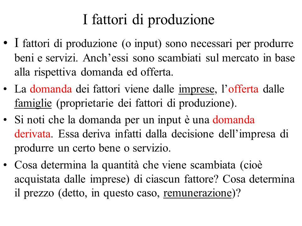 I fattori di produzione I fattori di produzione (o input) sono necessari per produrre beni e servizi. Anchessi sono scambiati sul mercato in base alla