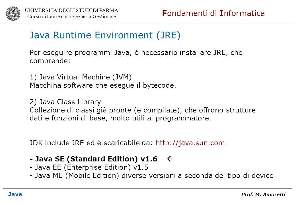 UNIVERSITA DEGLI STUDI DI PARMA Corso di Laurea in Ingegneria Gestionale Fondamenti di Informatica Java Prof. M. Amoretti Java Runtime Environment (JR