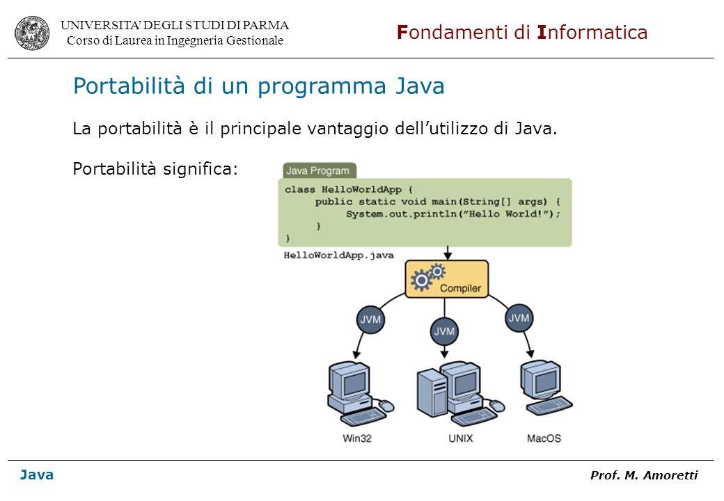 UNIVERSITA DEGLI STUDI DI PARMA Corso di Laurea in Ingegneria Gestionale Fondamenti di Informatica Java Prof. M. Amoretti Portabilità di un programma