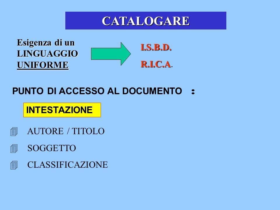 Esigenza di un LINGUAGGIO UNIFORME I.S.B.D. R.I.C.A R.I.C.A. CATALOGARE PUNTO DI ACCESSO AL DOCUMENTO : INTESTAZIONE AUTORE / TITOLO SOGGETTO CLASSIFI