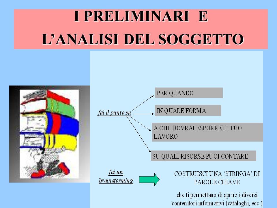 I PRELIMINARI E LANALISI DEL SOGGETTO LANALISI DEL SOGGETTO