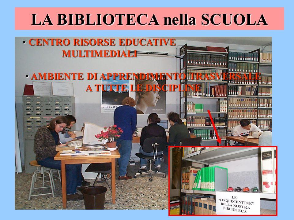 LA BIBLIOTECA nella SCUOLA CENTRO RISORSE EDUCATIVE MULTIMEDIALI CENTRO RISORSE EDUCATIVE MULTIMEDIALI AMBIENTE DI APPRENDIMENTO TRASVERSALE A TUTTE L