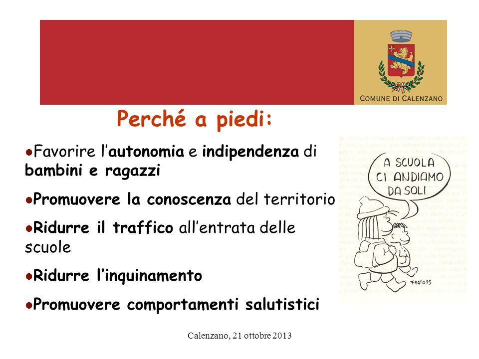 Calenzano, 21 ottobre 2013 Preistoria del piedibus : 2007 indagine e questionario e incontri I miei genitori hanno paura che venga investito.