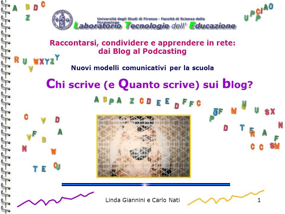 Linda Giannini e Carlo Nati1 Raccontarsi, condividere e apprendere in rete: dai Blog al Podcasting Nuovi modelli comunicativi per la scuola C hi scriv