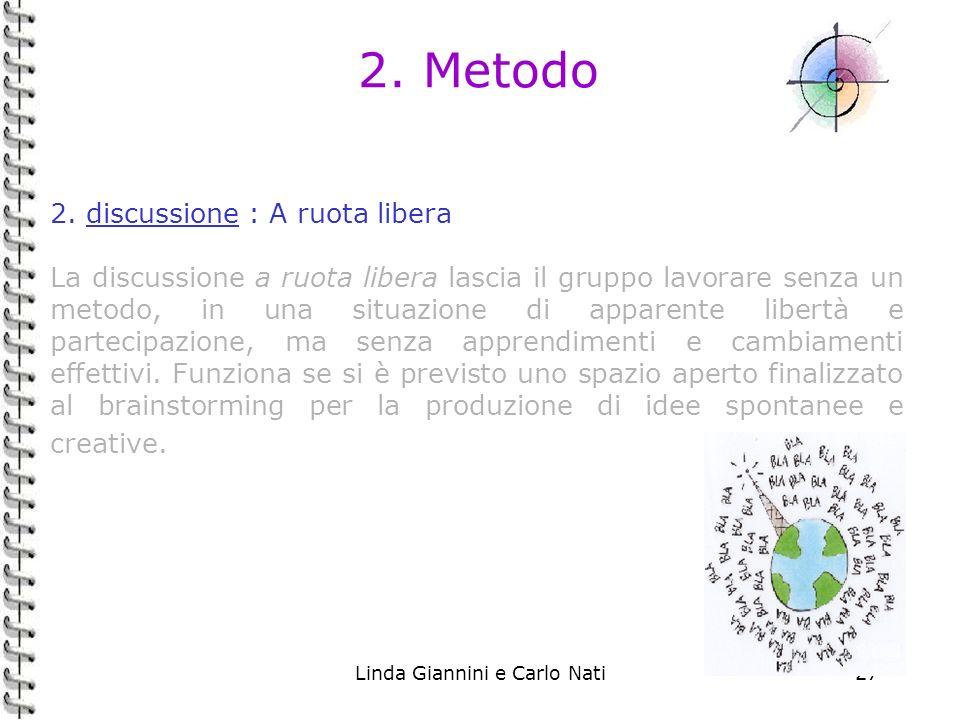 Linda Giannini e Carlo Nati27 2. Metodo 2. discussione : A ruota libera La discussione a ruota libera lascia il gruppo lavorare senza un metodo, in un