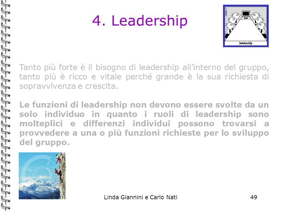 Linda Giannini e Carlo Nati49 4. Leadership Tanto più forte è il bisogno di leadership allinterno del gruppo, tanto più è ricco e vitale perché grande
