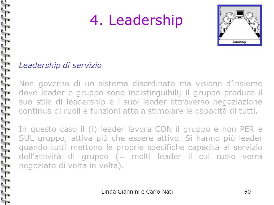Linda Giannini e Carlo Nati50 4. Leadership Leadership di servizio Non governo di un sistema disordinato ma visione dinsieme dove leader e gruppo sono