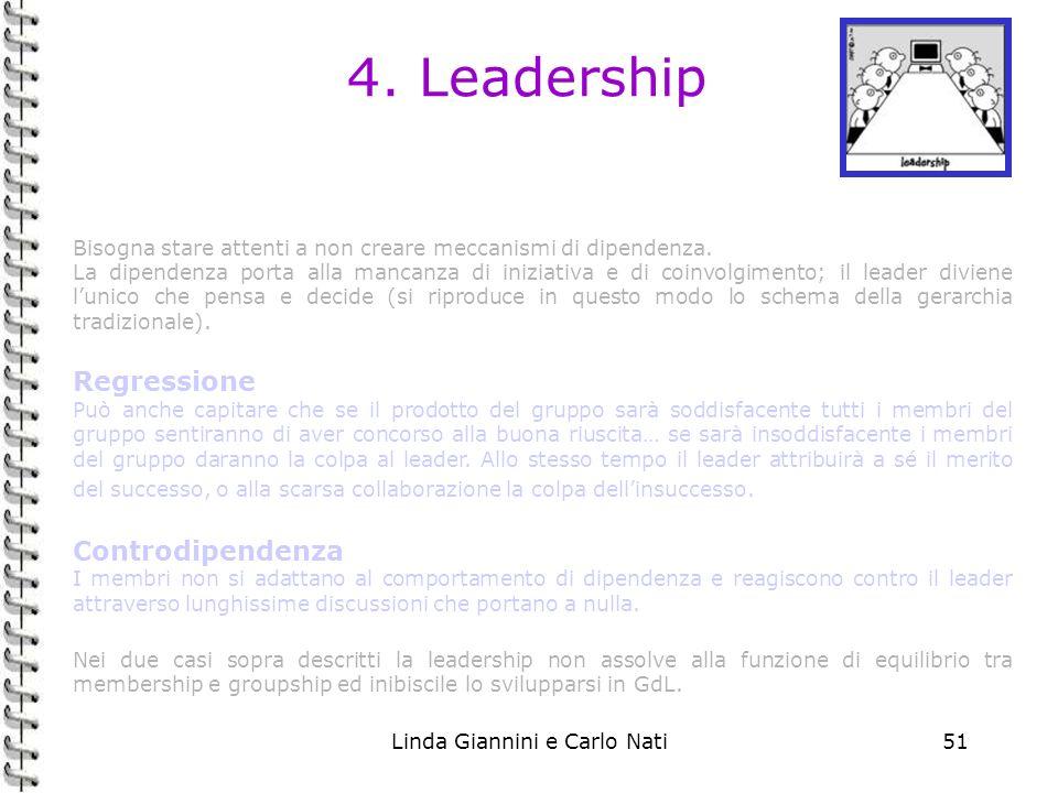 Linda Giannini e Carlo Nati51 4. Leadership Bisogna stare attenti a non creare meccanismi di dipendenza. La dipendenza porta alla mancanza di iniziati