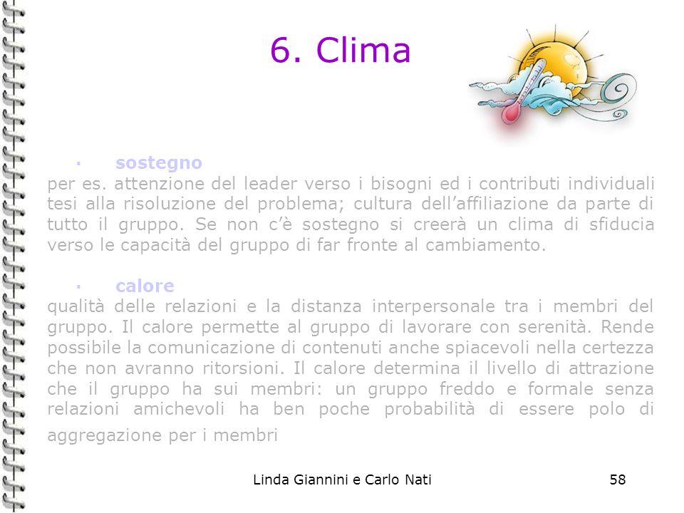 Linda Giannini e Carlo Nati58 6. Clima ·sostegno per es. attenzione del leader verso i bisogni ed i contributi individuali tesi alla risoluzione del p