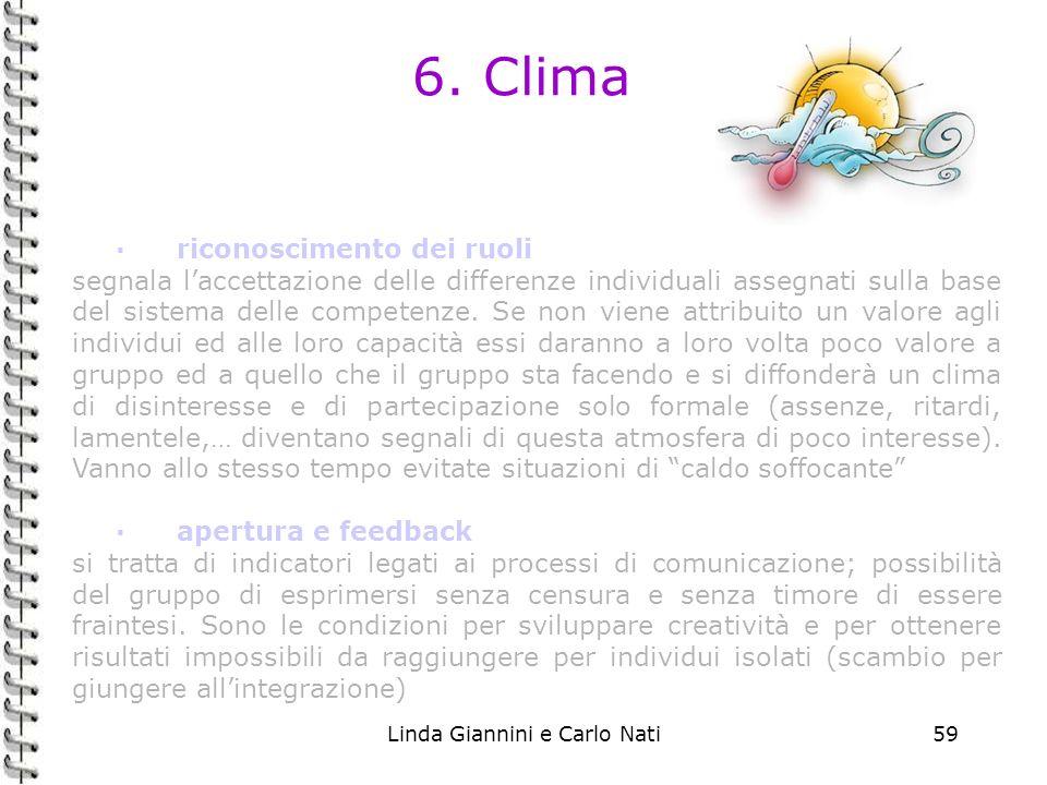 Linda Giannini e Carlo Nati59 6. Clima ·riconoscimento dei ruoli segnala laccettazione delle differenze individuali assegnati sulla base del sistema d