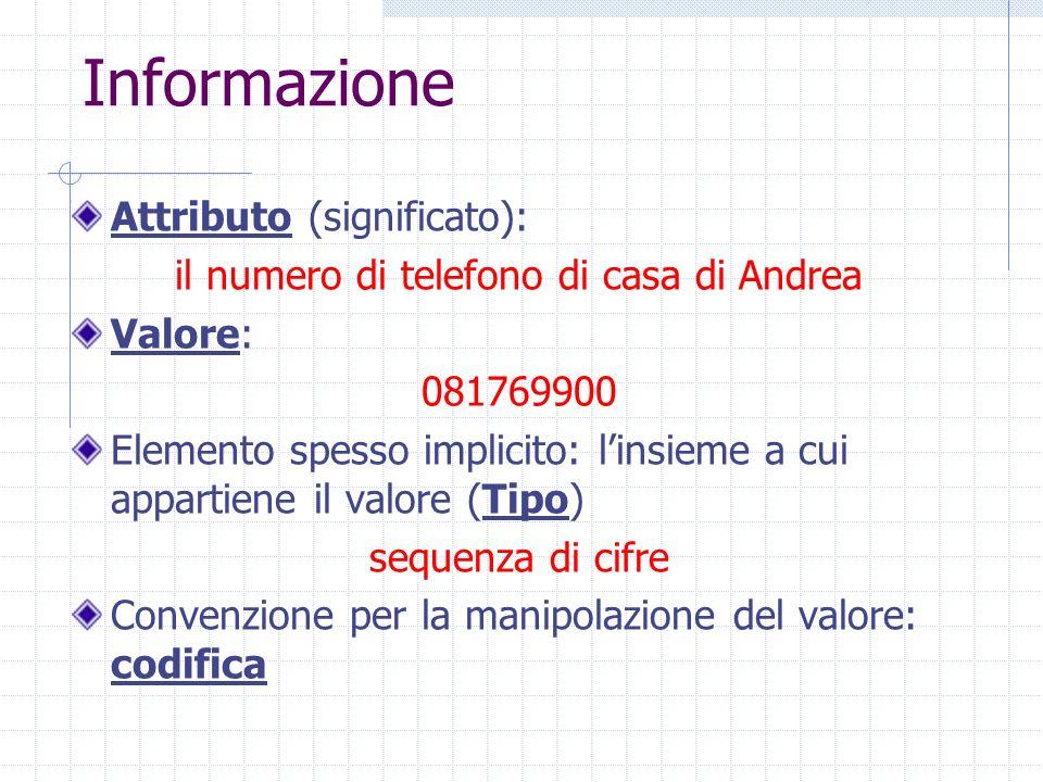 Informazione Attributo (significato): il numero di telefono di casa di Andrea Valore: 081769900 Elemento spesso implicito: linsieme a cui appartiene i
