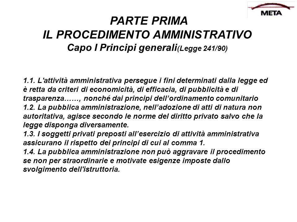 PARTE PRIMA IL PROCEDIMENTO AMMINISTRATIVO Capo I Principi generali (Legge 241/90) 1.1. L'attività amministrativa persegue i fini determinati dalla le