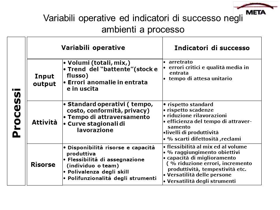 Variabili operative ed indicatori di successo negli ambienti a processo Processi Input output Attività Risorse Variabili operative Indicatori di succe