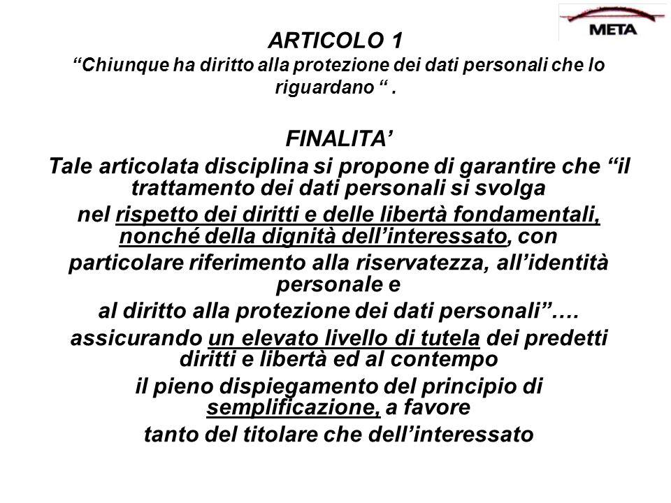 ARTICOLO 1 Chiunque ha diritto alla protezione dei dati personali che lo riguardano. FINALITA Tale articolata disciplina si propone di garantire che i